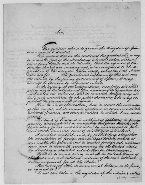 William G. Vidal to James Madison, April 30, 1809.