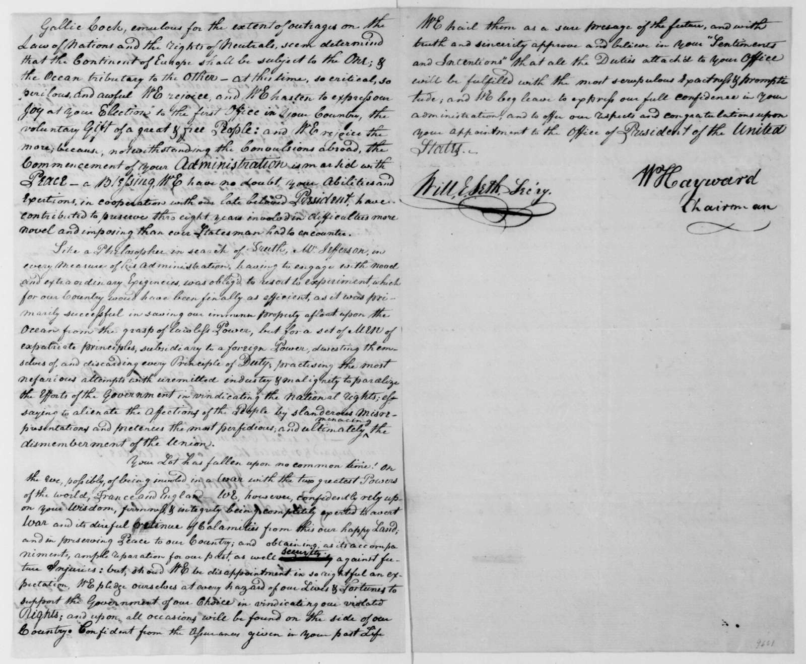 William Hayward and Talbot County Maryland Citizen to James Madison, March 14, 1809. Address.