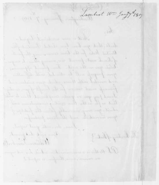 William Lambert to James Madison, January 7, 1809.