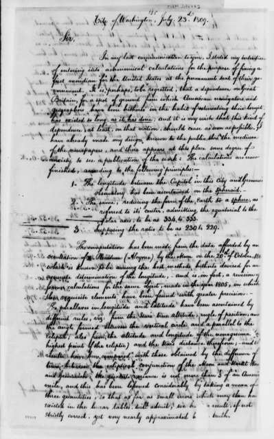 William Lambert to Thomas Jefferson, July 23, 1809