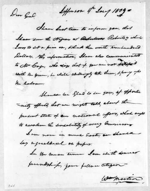 William Martin to Andrew Jackson, January 4, 1809