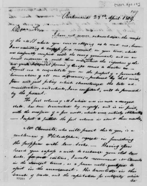 William Waller Hening to Thomas Jefferson, April 23, 1809