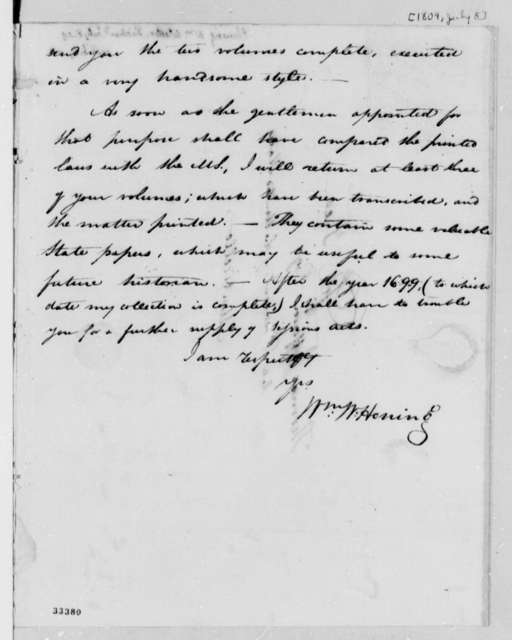 William Waller Hening to Thomas Jefferson, July 8, 1809