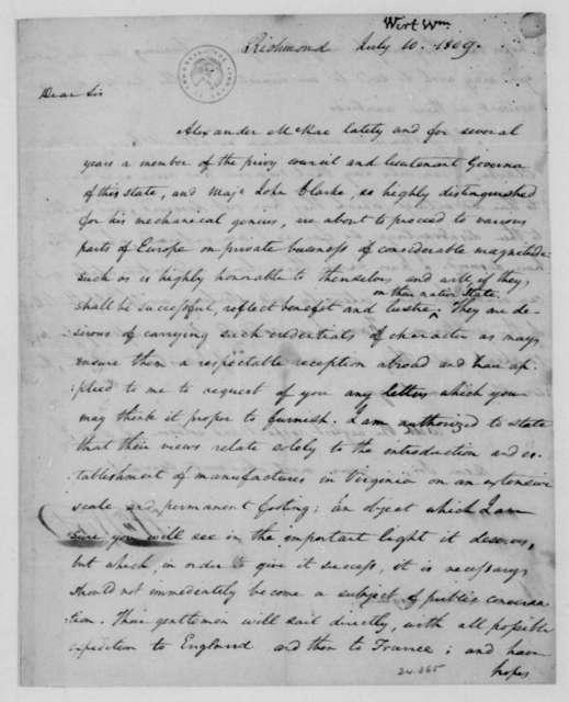 William Wirt to James Madison, July 10, 1809.