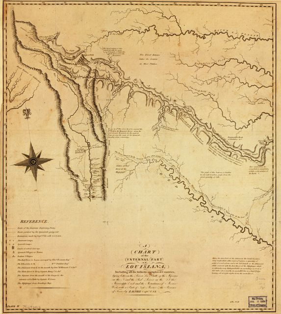 A chart of the internal part of Louisiana : including all the hitherto unexplored countries, lying between the River La Platte of the Missouri on the N., and the Red River on the S., the Mississippi east, and the mountains of Mexico west, with a part of New Mexico & the Province of Texas /