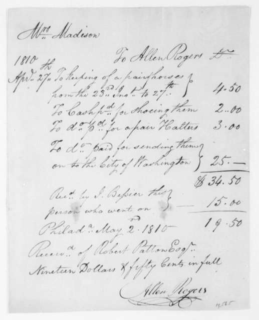 Allen Rogers to Dolley Payne Madison, May 2, 1810. Receipt from AP 27.