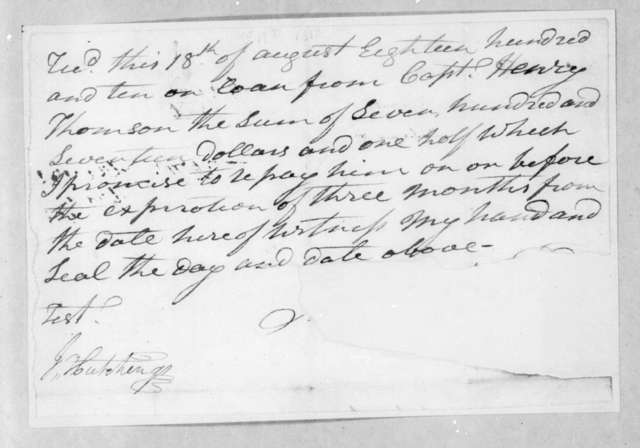 Andrew Jackson to Henry Thomson, August 18, 1810