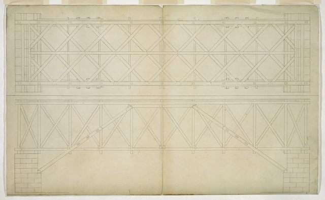 Architectural drawing for a wooden truss bridge. Bridge plan and elevation