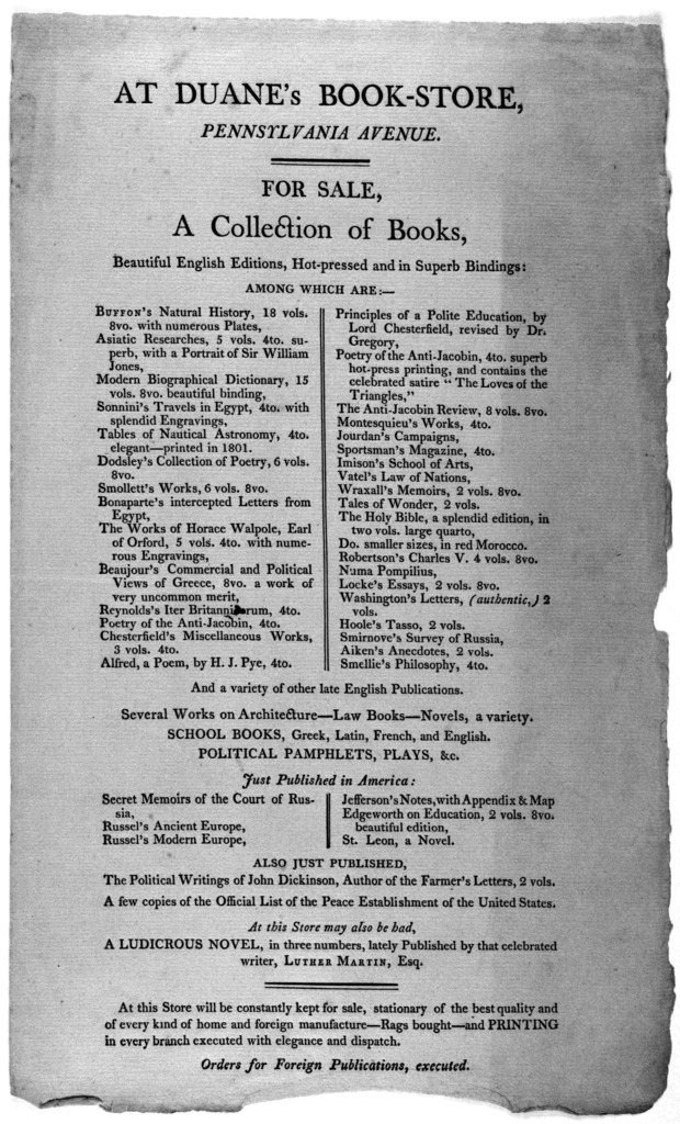 At Duane's book-store, Pennsylvania Avenue. For sale a collection of books ... [Washington 181-?].