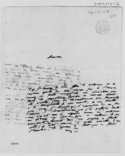 Baron von Humboldt to Thomas Jefferson, September 23, 1810, in French