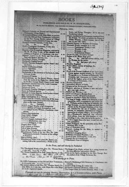 Books published and sold by W. W. Woodward No. 52 South Second, the corner of Chestnut Street, Philadelphia. February 1810.