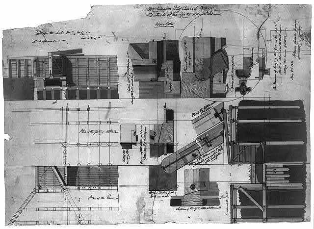 """[Canal (""""Washington Canal""""), Washington, D.C. Lock details and sections]"""