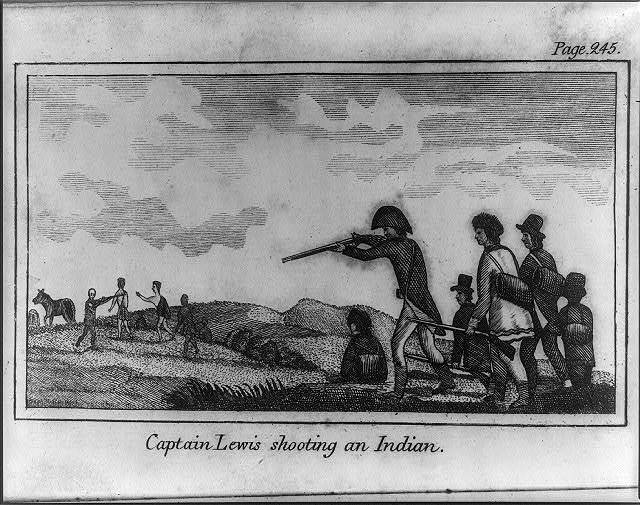 Captain Lewis shooting an Indian