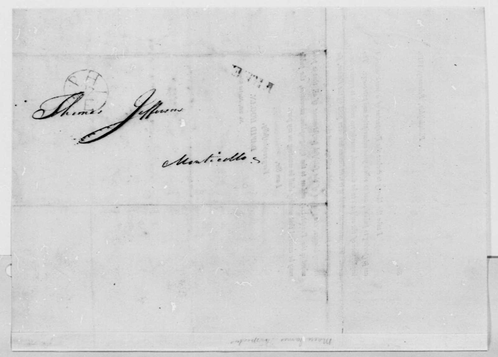 David Hogan to Thomas Jefferson, February 1810, Printed Circular Letter and Prospectus