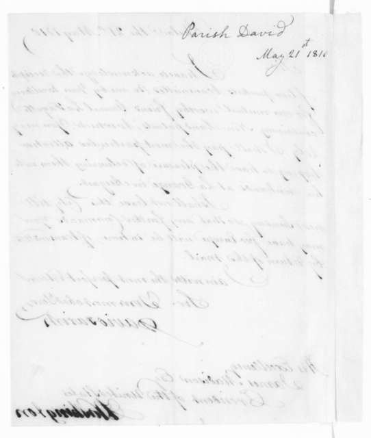 David Parish to James Madison, May 21, 1810.