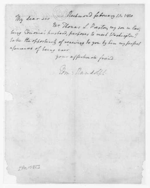 Edmund Randolph to James Madison, February 14, 1810.