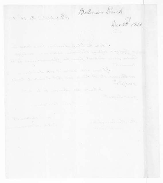 Erich Bollman to James Madison, December 23, 1810.