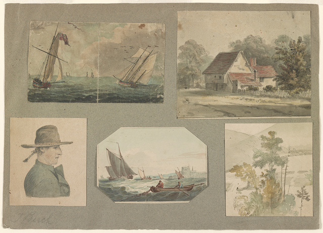 [Five sketches: one portrait, two marine views, exterior of a house, and one landscape showing trees]