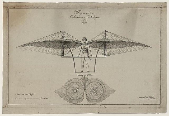 Flugmaschine. Erfunden von Jacob Degen in Wien, 1807 / Jos. Belbing, s.c.