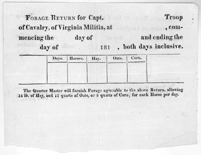 Forage return for Capt. troop of cavalry, of Virginia militia, at commencing the day of and ending the day of 181, both days inclusive ... [181-].