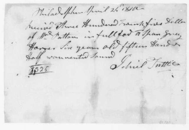 Gabriel Tuttle to R. Patton, April 24, 1810. Receipt.