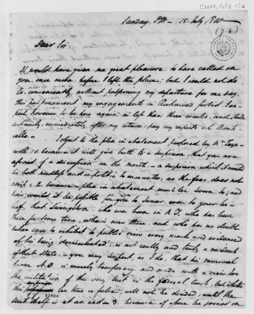 George Hay to Thomas Jefferson, July 15, 1810