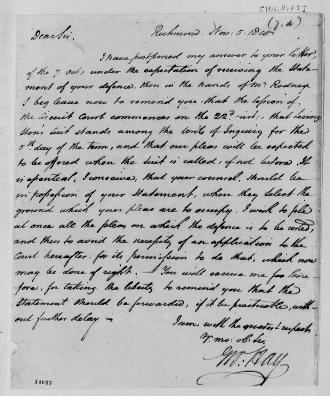 George Hay to Thomas Jefferson, November 5, 1810