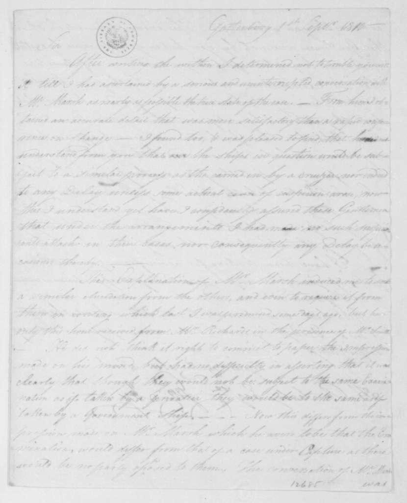George Joy to H. R. Saabye, September 1, 1810. With Copy.