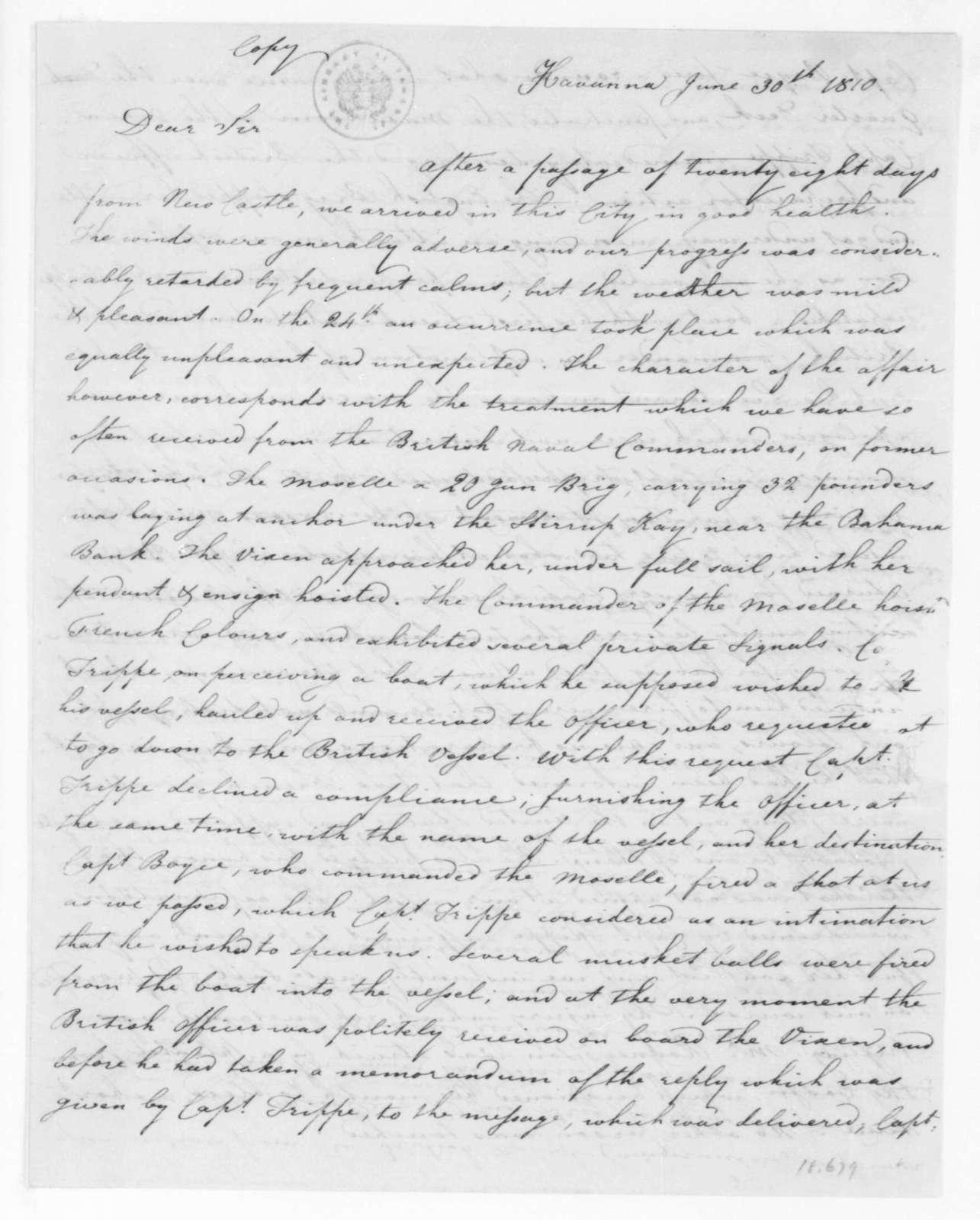 George Poindexter to Paul Hamilton, June 30, 1810.