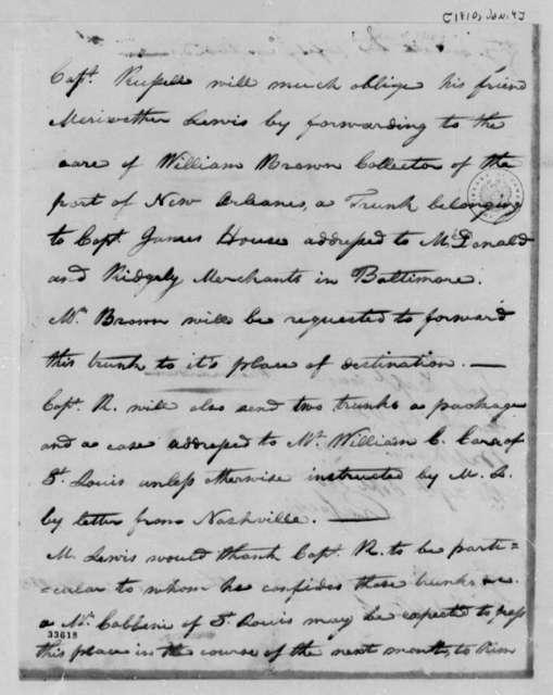 Gilbert C. Russell to Thomas Jefferson, January 4, 1810, with Memorandum