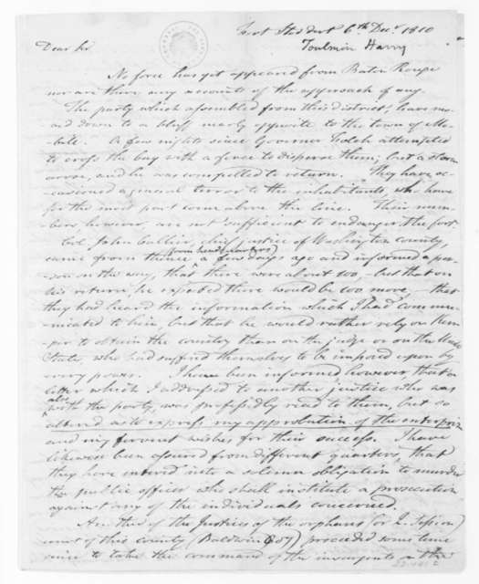 Harry Toulmin to James Madison, December 6, 1810.