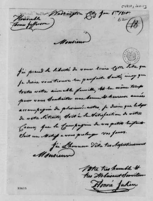 Honore Julien to Thomas Jefferson, January 1, 1810, in French
