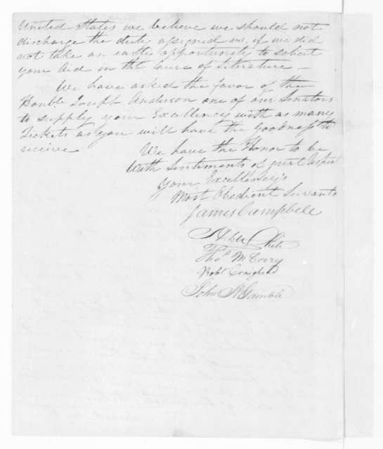 James Campbell to James Madison, February 12, 1810. Lottery tickets.