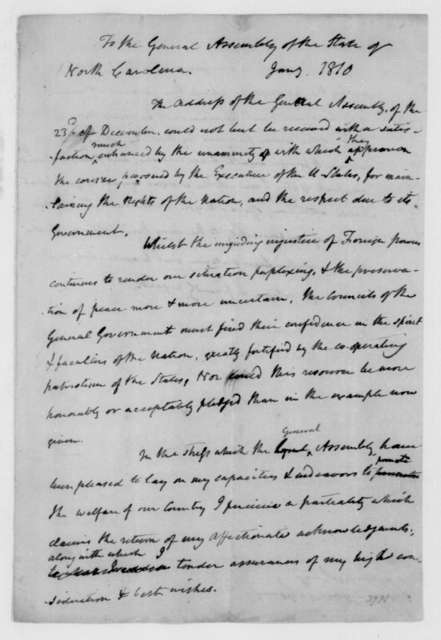 James Madison to North Carolina General Assembly, January, 1810. Reply to Address.