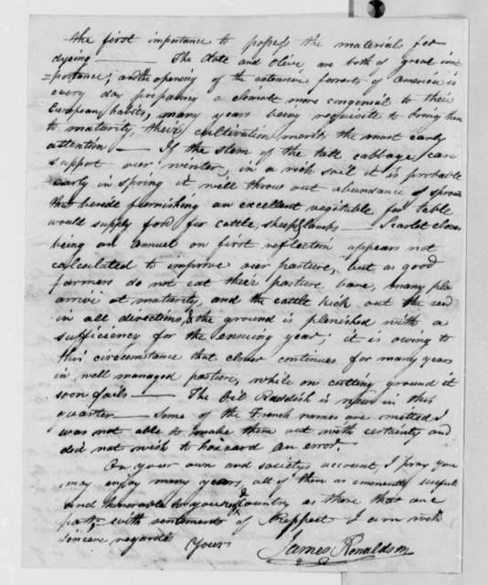 James Ronaldson to Thomas Jefferson, March 4, 1810, with List