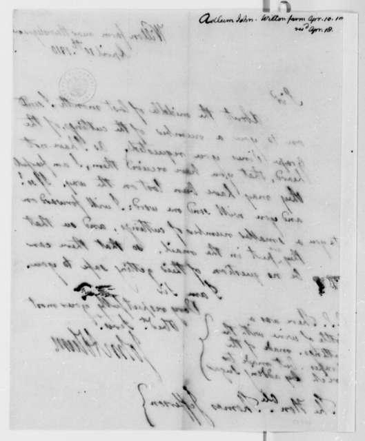 John Adlum to Thomas Jefferson, April 10, 1810