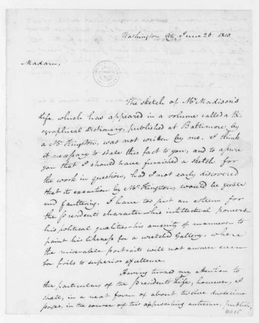 John B. Colvin to Dolley Payne Madison, June 26, 1810.