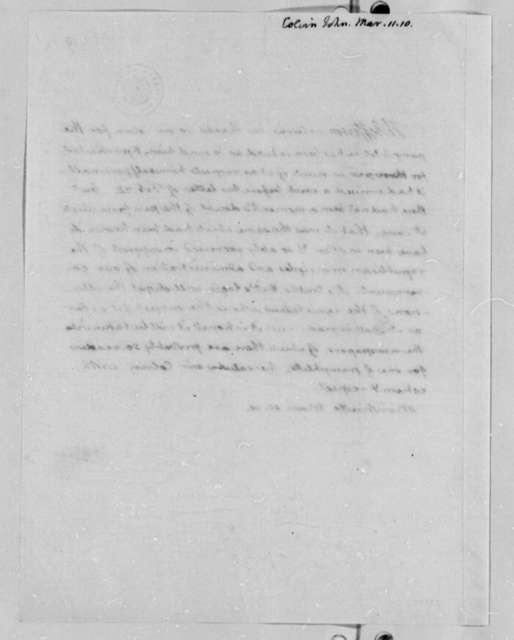 John B. Colvin to Thomas Jefferson, March 11, 1810