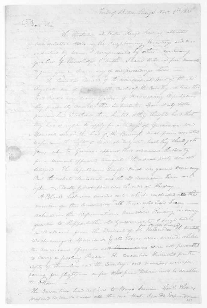 John Ballinger to Harry Toulmin, November 3, 1810.