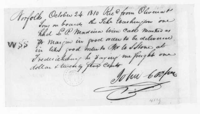 John Cooper to Oliveira & Sons, October 24, 1810. Receipt.