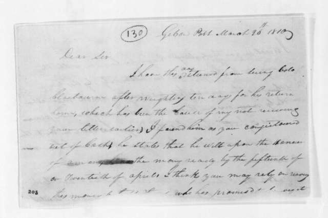 John Hutchings to Andrew Jackson, March 26, 1810