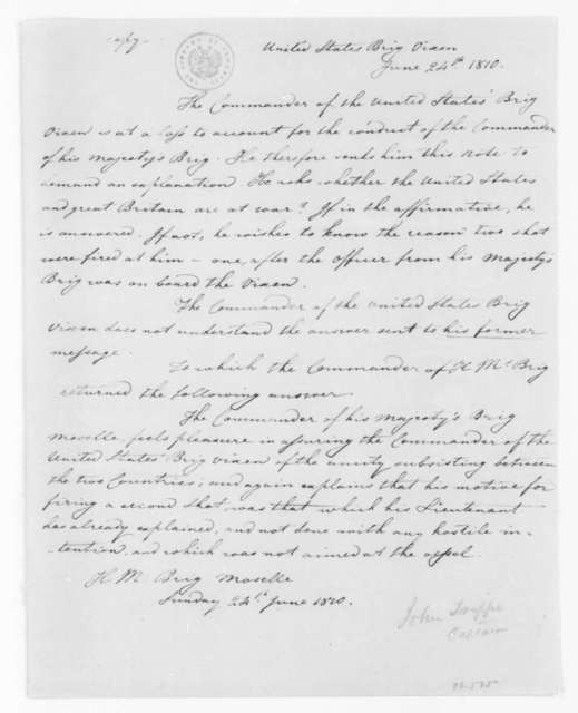 John Trippe to H. Boyce, June 24, 1810. Notes on an encounter between H.M.S. Moselle and U.S.S. Vixen.