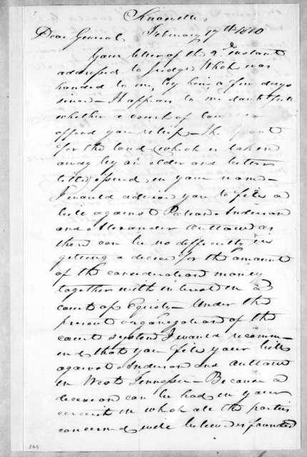 John Williams to Andrew Jackson, February 17, 1810