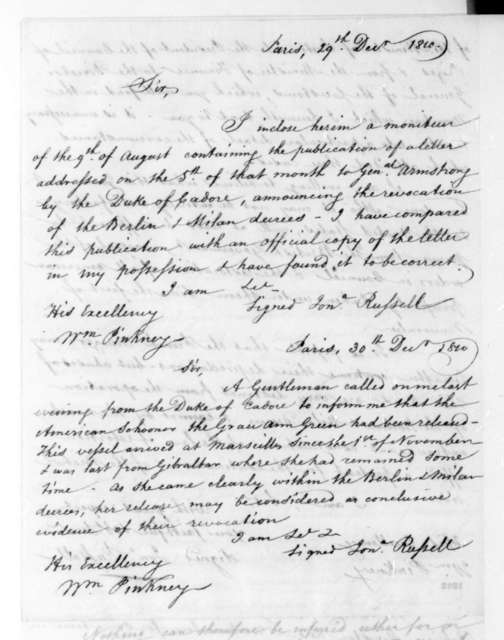 Jonathan Russell to William Pinkney, December 29, 1810. Includes note from Jonathan Russell to William Pinkney dated Dec. 30, 1810.