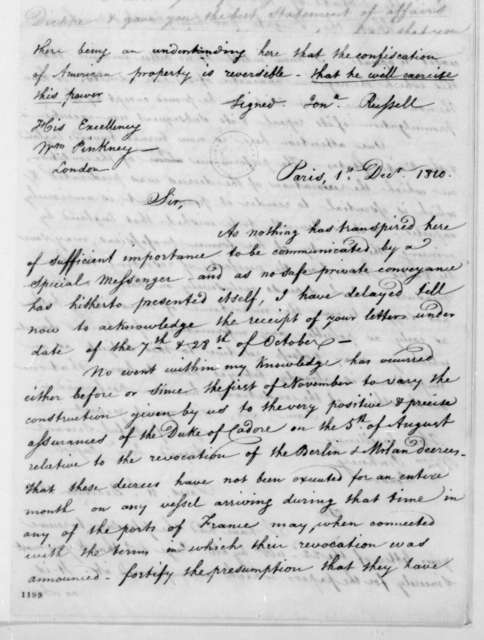 Jonathan Russell to William Pinkney, September 26, 1810. Includes notes from Jonathan Russell to William Pinkney dated Dec. 1, 1810, Dec. 11, 1810 and Dec. 13, 1810.