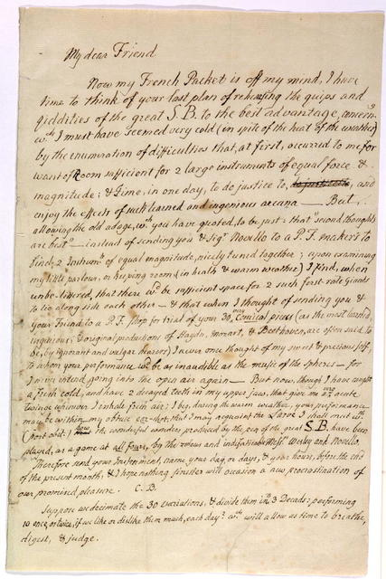 Letter from Charles Burney to Samuel Wesley, ca. 15 July 1810
