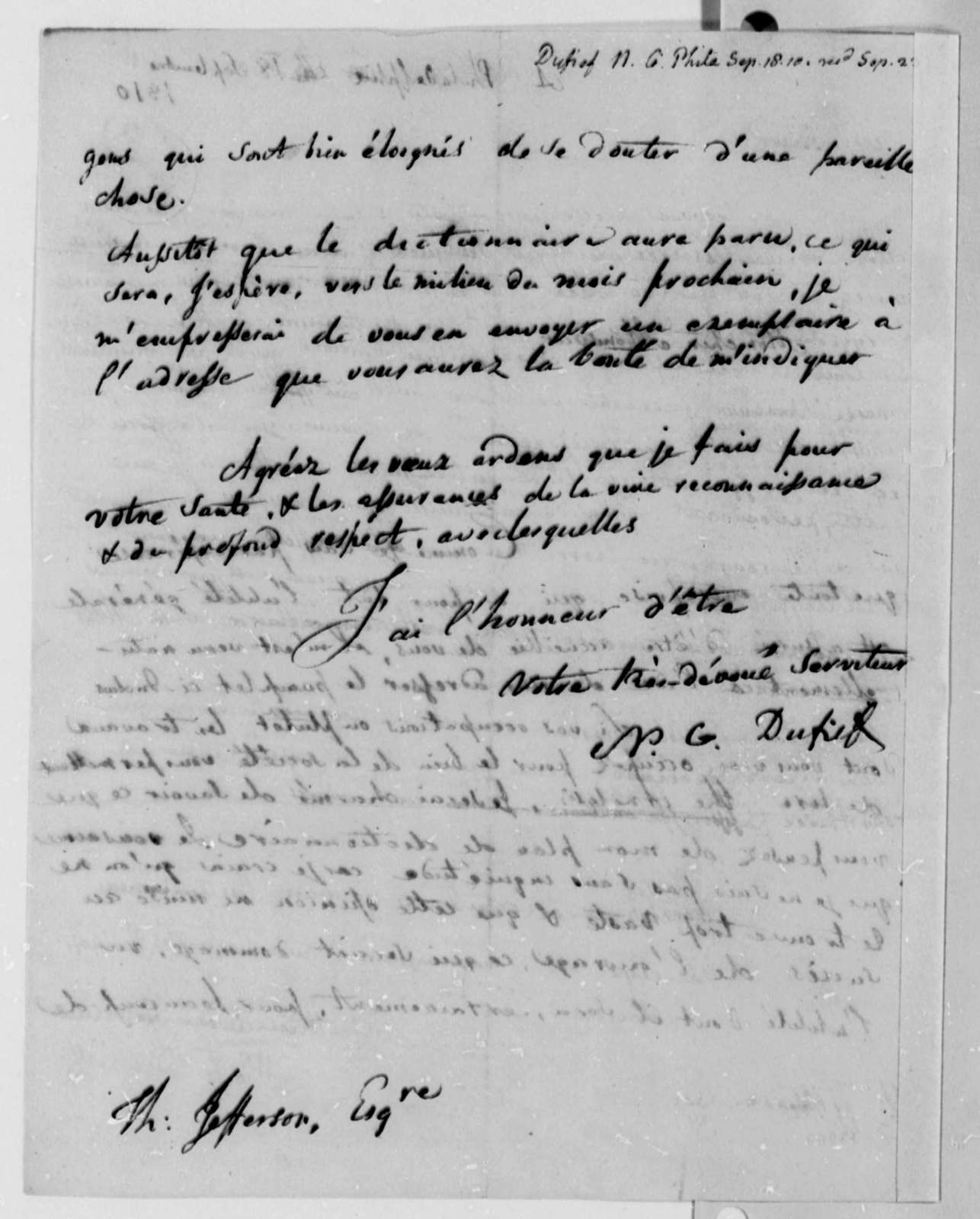 Nicholas Gouin Dufief to Thomas Jefferson, September 18, 1810, in French