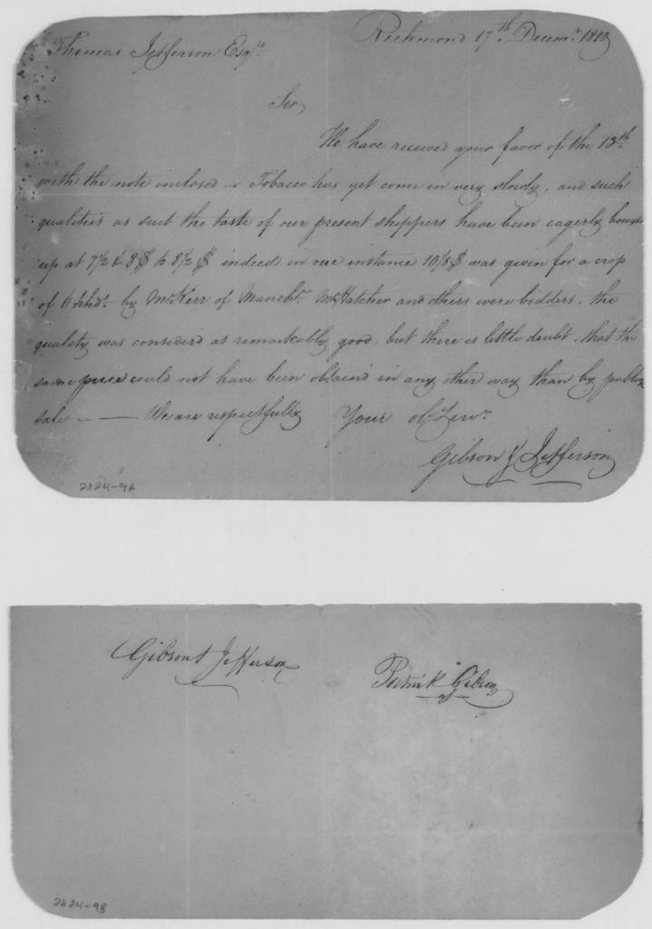 Patrick Gibson and George Jefferson to Thomas Jefferson, December 17, 1810