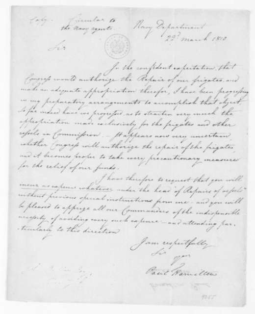 Paul Hamilton to Navy Department Agents, March 22, 1810. Circular.
