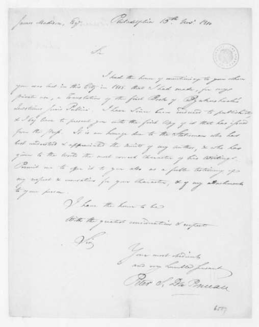 Peter S. Duponceau to James Madison, November 15, 1810.
